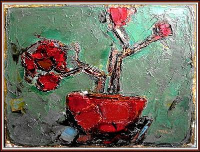 Poster featuring the painting still life in red SLIR2 by Pemaro