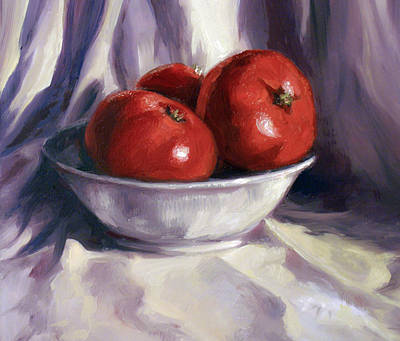 Still Life Tomatoes Poster by Laura Ury