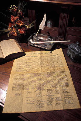 Still Life Of A Copy Of The Declaration Poster