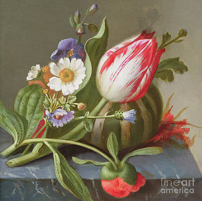Still Life Of A Tulip, A Melon And Flowers On A Ledge Poster by Rachel Ruysch