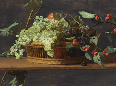 Still Life Of Blue And White Grapestogether With Wild Strawberries All In A Basket On A Wooden Ledge Poster