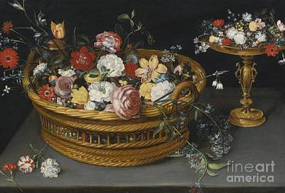 Still Life Of Flowers In A Basket And Flowers Poster