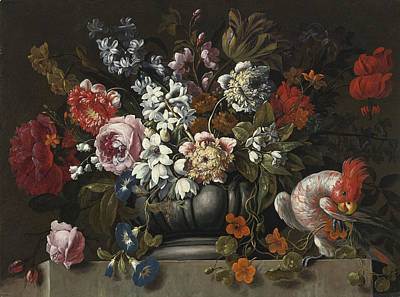 Still Life Of Flowers In A Stone Urn With A Parrot Poster