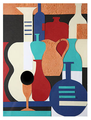 Still Life Paper Collage Of Wine Glasses Bottles And Musical Instruments Poster by Mal Bray