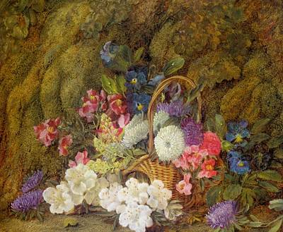 Still Life With A Basket Of Flowers Poster by MotionAge Designs
