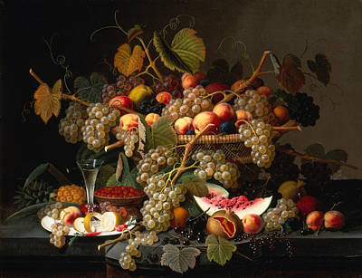 Still Life With A Basket Of Fruit Poster by MotionAge Designs