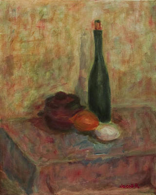 Still Life With A Bottle Of Wine Poster by Jacob R