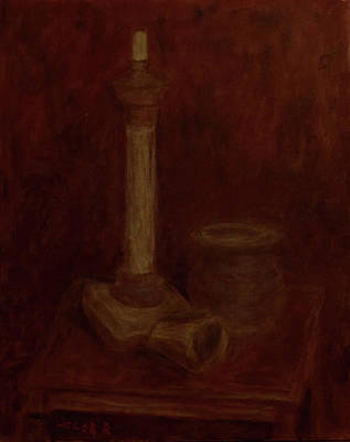 Still Life With A Chandelier, Pot And Cup Poster
