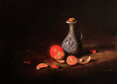 Poster featuring the painting Still Life With A Little Dutch Jug by Barry Williamson