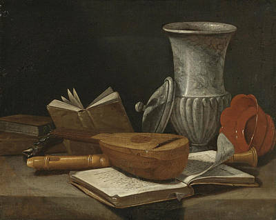 Still Life With A Lute A Recorder Books A Marble Covered Vase And Other Objects Resting On A Table Poster by Cristoforo Munari