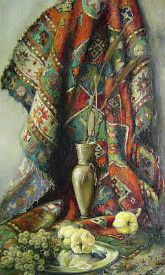 Poster featuring the painting Still-life With An Old Rug by Tigran Ghulyan