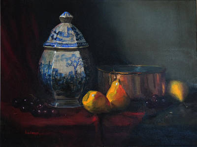 Poster featuring the painting Still Life With Antique Dutch Vase by Barry Williamson