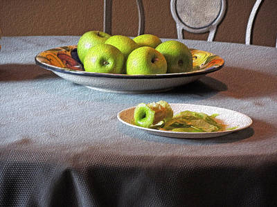 Still Life With Apples And Chair Poster by Lynda Lehmann