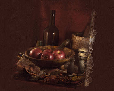 Still Life With Apples, Bottles, Baskets And Shakers. Poster