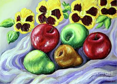 Poster featuring the painting Still Life With Apples by Inese Poga