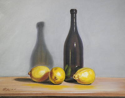 Still Life With Brown Bottle And Lemons Poster