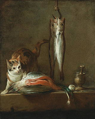 Still Life With Cat And Fish Poster by Chardin
