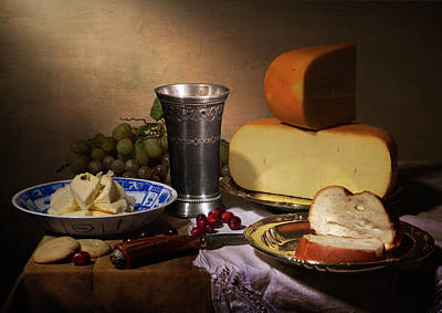 Still Life With Cheeses And Pewter Cup Poster