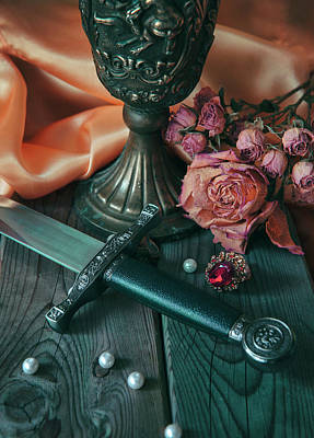 Still Life With Dagger, Chalice, Dry Roses And Loose Pearls Poster by Jaroslaw Blaminsky