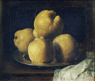 Still Life With Dish Of Quince Poster by Francisco de Zurbaran
