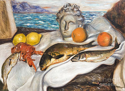 Still Life With Fish By Giorgio De Chirico Poster by Roberto Morgenthaler