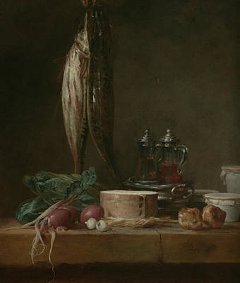 Still Life With Fish, Vegetables, Gougeres, Pots, And Cruets On A Table  Poster
