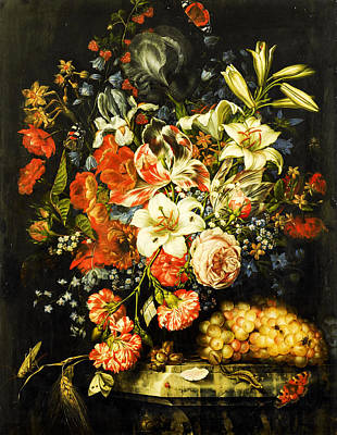 Still Life With Flowers And Fruit 3 Poster