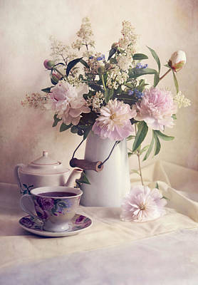 Still Life With Fresh Flowers And Tea Set Poster by Jaroslaw Blaminsky