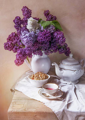 Poster featuring the photograph Still Life With Fresh Lilac And China Pots by Jaroslaw Blaminsky