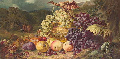 Still Life With Fruit In A Landscape Poster by George Lance