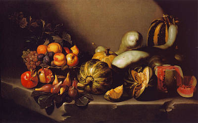 Still Life With Fruit On A Stone Ledge Poster by MotionAge Designs