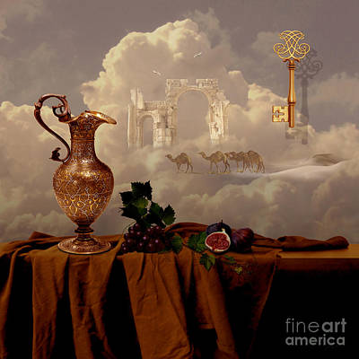 Poster featuring the digital art Still Life With Gold Key by Alexa Szlavics