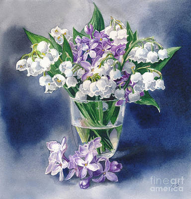 Still Life With Lilacs And Lilies Of The Valley Poster by Sergey Lukashin