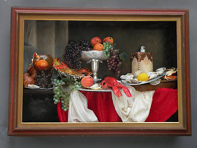Still Life With Lobsters Poster by Sara Schindel