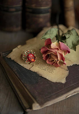 Still Life With Old Books, Dried Rose And Big Ring Poster