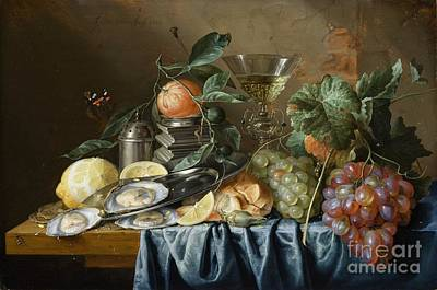 Still Life With Oysters And Grapes Poster by Celestial Images