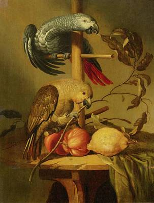 Still Life With Parrots And Fruit Poster