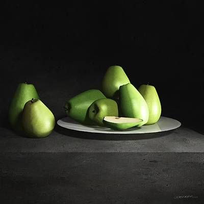 Still Life With Pears Poster by Cynthia Decker