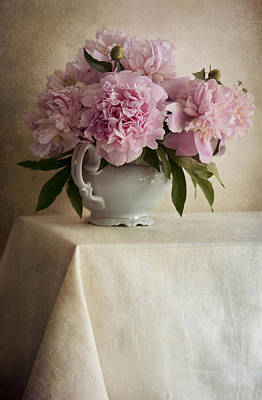 Still Life With Pink Peonies Poster