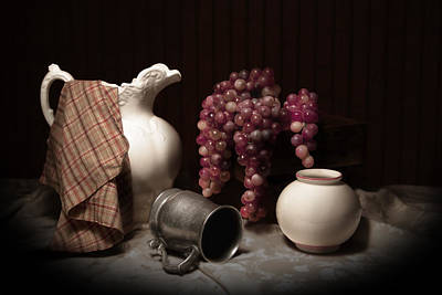 Still Life With Pitcher And Grapes Poster by Tom Mc Nemar