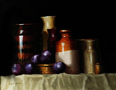Poster featuring the painting Still Life With Plums by Barry Williamson