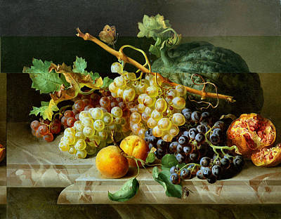 Still Life With Pomegranate Grapes And Melon Poster