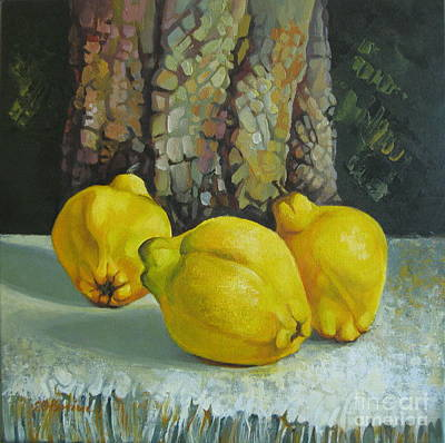 Poster featuring the painting Still Life With Quinces by Elena Oleniuc