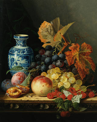 Still Life With Rasberries Poster by Edward Ladell