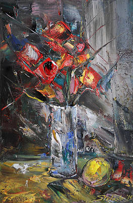 Still Life With Red Flowers And Lemon Poster