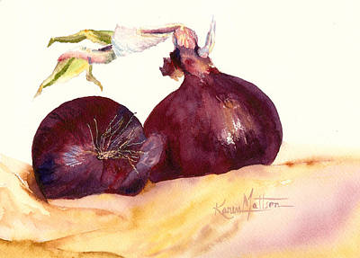 Still Life With Red Onions Poster by Karen Mattson