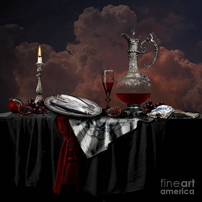 Poster featuring the digital art Still Life With Red Wine by Alexa Szlavics