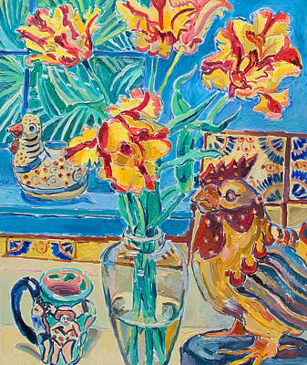 Still Life With Rooster And Tulips Poster by Vitali Komarov