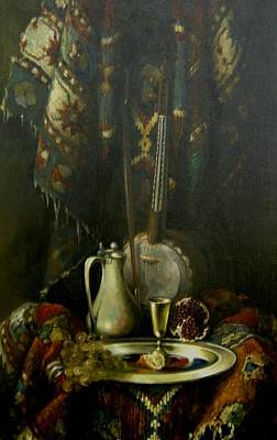Poster featuring the painting Still-life With The Kamancha by Tigran Ghulyan