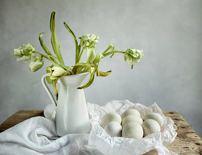 Still Life With Tulips And Eggs Poster by Nailia Schwarz